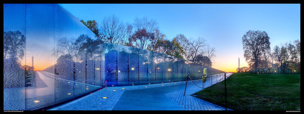 Panoramic Photograph of Vietnam Veterans Memorial, Washington, DC.  Print Size (in inches): 15x5.5; 24x9; 36x13.5; 48x18; 60x22.5; 72x27.