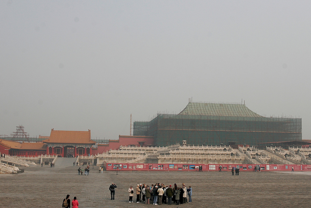 The Forbidden City along side the rest of Beijing, China is under going massive renovations for the 2008 Olympic Games.  The Forbidden City was first built in 1406 by a Ming Emperor, and was completed 14 years later.