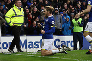 Tom Davies of Evertoncelebrates after he scores his teams 3rd goal. Premier league match, Everton v Manchester City at Goodison Park in Liverpool, Merseyside on Sunday 15th January 2017.<br /> pic by Chris Stading, Andrew Orchard sports photography.