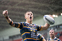 Rugby League - 2020 Coral Challenge Cup - Leeds Rhinos vs Wigan Warrior - TW Stadium, Stadium<br /> <br /> Leeds Rhinos's Ashley Handley celebrates scoring his sides winning try of the game<br /> <br /> COLORSPORT/TERRY DONNELLY