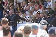 Belgian Crown Prince Filip and Dutch Queen Beatrix attend the 100 years' jubilee of the Old Limburgs Citizens Soldiers in Stramproy, in southern Netherlands near the Belgian border.<br /> <br /> Hare Majesteit de Koningin en Zijne Koninklijke Hoogheid Prins Filip van België bezoeken het 100-jarig jubileum van  het Oud Limburgs Schuttersfeest in Stramproy. Honderd jaar geleden vond voor het eerst een schuttersevenement plaats onder de naam Oud Limburgs Schuttersfeest. Het is een jaarlijks evenement waaraan ruim 160 schutterijen uit zowel Nederlands als Belgisch Limburg deelnemen. <br /> <br /> On the photo / Op de foto: <br /> <br />  Prince Filip and queen Beatrix during the defile / Prins Filip en koningin Beatrix  tijdens het defile