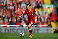 Philippe Coutinho of Liverpool in action. Premier League match, Liverpool v Burnley at the Anfield stadium in Liverpool, Merseyside on Saturday 16th September 2017.<br /> pic by Chris Stading, Andrew Orchard sports photography.