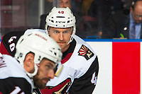 KELOWNA, BC - SEPTEMBER 29:  Michael Grabner #40 of the Arizona Coyotes lines up against the Vancouver Canucks at Prospera Place on September 29, 2018 in Kelowna, Canada. (Photo by Marissa Baecker/NHLI via Getty Images)  *** Local Caption *** Michael Grabner;