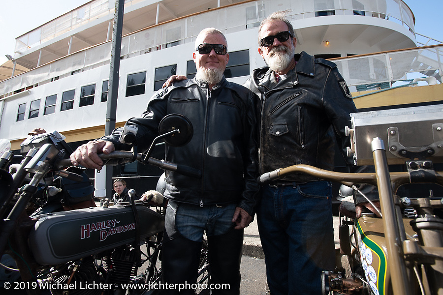 Father and Son - Bill and Billy Page on the Motorcycle Cannonball coast to coast vintage run. Stage 15  (51 miles - the Grand Finish) from The Dalles to Stevenson, OR. Sunday September 23, 2018. Photography ©2018 Michael Lichter.