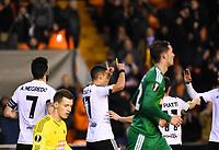 Valencia's   Rodrigo and Alvaro Negredo celebrating a goal   during Uefa Europa League match. February 18, 2016. (ALTERPHOTOS/Javier Comos)