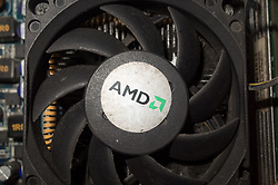 October 3, 2018 - Manila, Philippines - A logo of semiconductor company Advanced Micro Devices Inc. (AMD) is seen on a computer heatsink in Manila, Philippines on Thursday, October 4, 2018. Picture taken October 3, 2018. (Credit Image: © Richard James Mendoza/NurPhoto/ZUMA Press)