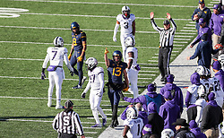 Nov 10, 2018; Morgantown, WV, USA; West Virginia Mountaineers wide receiver David Sills V (13) celebrates a first down during the third quarter against the TCU Horned Frogs at Mountaineer Field at Milan Puskar Stadium. Mandatory Credit: Ben Queen-USA TODAY Sports