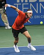 STEFANOS TSITSIPAS hits a backhand at the Rock Creek Tennis Center.