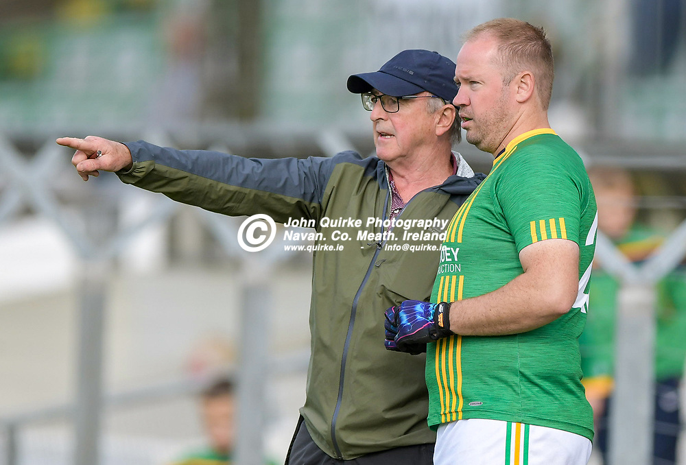 CAstletown manager, Colm Coyle gives instructions to Francis Hoey,    in the Castletown v Walterstown, 2020 Corn na Boinne Final match, at Pairc Tailteann, Navan.<br /> <br /> Photo: GERRY SHANAHAN-WWW.QUIRKE.IE<br /> <br /> 02-08-2021