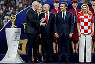 FIFA President Gianni Infantino, Russia President Vladimir Putin, France President Emmanuel Macron, Croatia President Kolinda Grabar-Kitarovic during the trophies ceremony after the 2018 FIFA World Cup Russia, final football match between France and Croatia on July 15, 2018 at Luzhniki Stadium in Moscow, Russia - Photo Thiago Bernardes / FramePhoto / ProSportsImages / DPPI