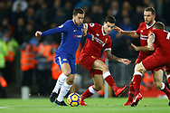 Eden Hazard of Chelsea (l) battles for the ball with Philippe Coutinho of Liverpool. Premier League match, Liverpool v Chelsea at the Anfield stadium in Liverpool, Merseyside on Saturday 25th November 2017.<br /> pic by Chris Stading, Andrew Orchard sports photography.