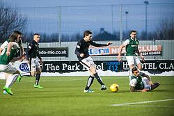 Falkirk's Blair Alston scoring the goal. <br /> Falkirk 1 v 1 Hibernian, Scottish Championship game played 17/1/2015 at The Falkirk Stadium.