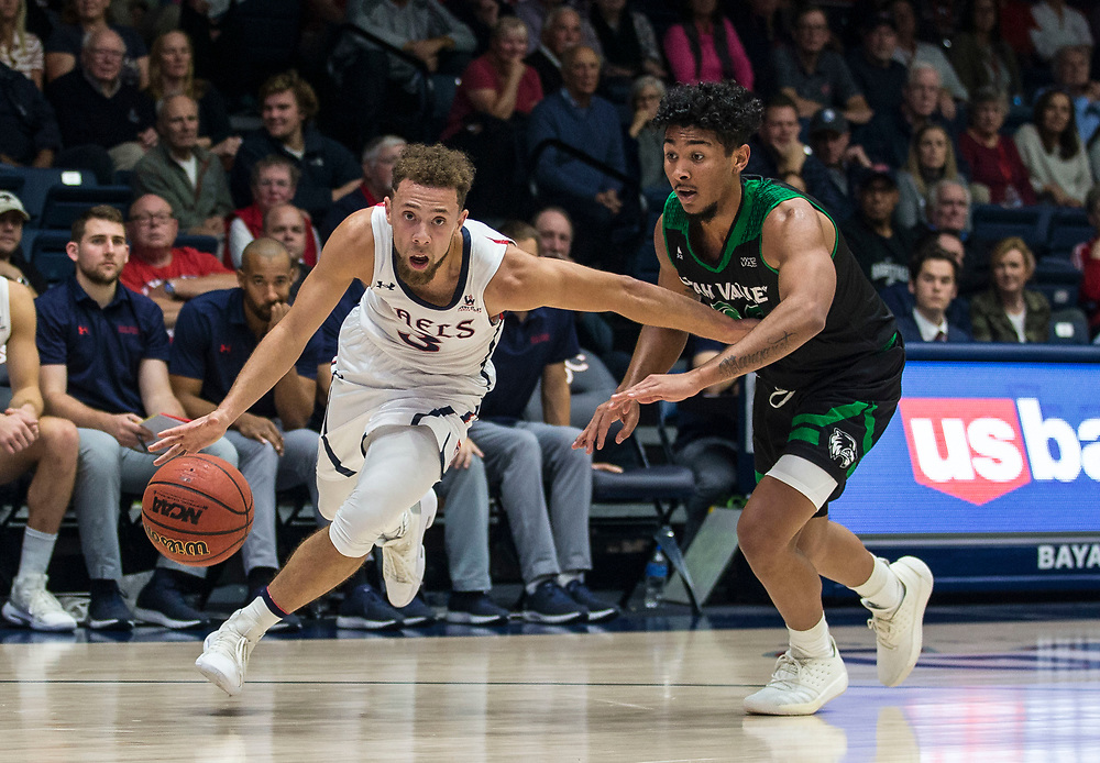 Nov 11 2018  Moraga CA, U.S.A.  St. Mary's guard Jordan Ford (3) drives to the hoop scored a career-high 35 points on 11-of-17  during the NCAA Men's Basketball game between Utah Valley Wolverines and the Saint Mary's Gaels 92-63 win at McKeon Pavilion Moraga Calif. Thurman James / CSM