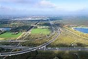 Nederland, Noord-Brabant, Eindhoven, 24-10-2013; Knooppunt Ekkersweijer, kruising A50 met A2 (naar horizon, ri Den Bosch).<br /> Ringroad Eindhoven, Ekkersweijer Junction<br /> luchtfoto (toeslag op standaard tarieven);<br /> aerial photo (additional fee required);<br /> copyright foto/photo Siebe Swart.