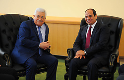 September 20, 2016 - New York, New York, United States of America - Egyptian President Abdel-Fattah El-Sisi meets with Palestinian President Mahmoud Abbas at the United Nations Headquarters in New York, U.S., where they are attending the UN General Assembly on Sep. 20, 2016  (Credit Image: © Egyptian President Office/APA Images via ZUMA Wire)