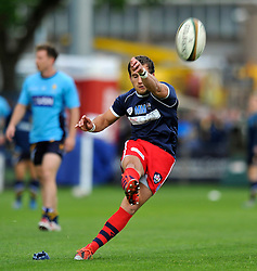 Matthew Morgan of Bristol Rugby practises his place kicking during the pre-match warm-up - Photo mandatory by-line: Patrick Khachfe/JMP - Mobile: 07966 386802 27/05/2015 - SPORT - RUGBY UNION - Worcester - Sixways Stadium - Worcester Warriors v Bristol Rugby - Greene King IPA Championship Play-off Final (Second leg)
