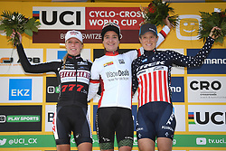 October 21, 2018 - Bern, SWITZERLAND - Dutch Annemarie Worst, Dutch Marianne Vos and US Katie Compton celebrate on the podium after the women's elite race at the UCI Cyclocross World Cup cyclocross event in Bern, Swiss Confederation, Sunday 21 October 2018, the third of nine stages in the World Cup trophy in the 2018-2019 season. BELGA PHOTO DAVID STOCKMAN (Credit Image: © David Stockman/Belga via ZUMA Press)
