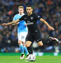 Marquinhos of Paris Saint-Germain  - Mandatory byline: Matt McNulty/JMP - 07966386802 - 12/04/2016 - FOOTBALL - Etihad Stadium -Manchester,England - Manchester City v Paris Saint-Germain - UEFA Champions League - Quarter Final Second Leg