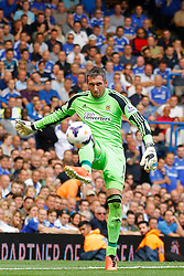 Hull City's Allan McGregor makes a defensive kick from a back pass  - Photo mandatory by-line: Mitchell Gunn/JMP - Tel: Mobile: 07966 386802 18/08/2013 - SPORT - FOOTBALL - Stamford Bridge - London -  Chelsea v Hull City - Barclays Premier League