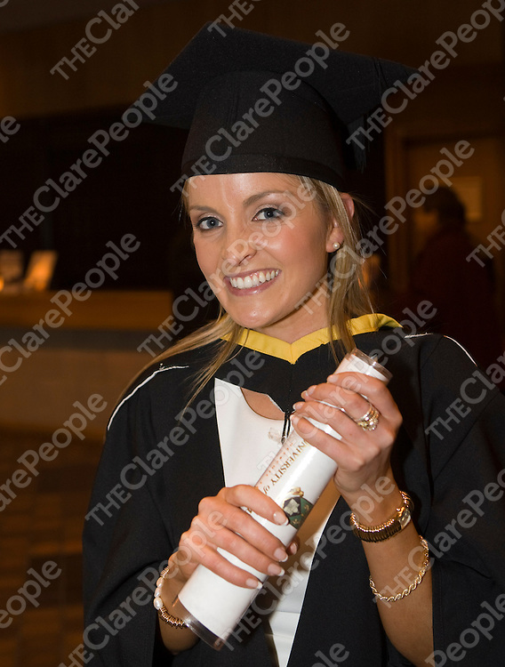 16/1/2012  (With compliments)<br /> Attending the University of Limerick Conferrings on Monday was Eva Ferguson, Parteen, Co. Clare who was conferred with an MA Business Management.<br /> Picture Liam Burke/Press 22