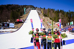 March 23, 2019 - Planica, Slovenia - Team Poland celebrating their victory at the Planica FIS Ski Jumping World Cup finals  on March 23, 2019 in Planica, Slovenia. From left: Team Germany, Team Poland and Team Slovenia. (Credit Image: © Rok Rakun/Pacific Press via ZUMA Wire)
