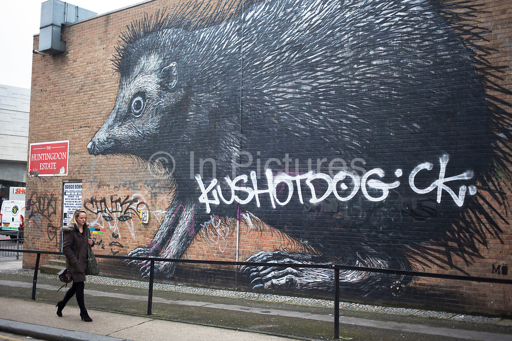 Giant hedgehog by artist Roa. Street art in the East End of London is an ever changing visual enigma, as the artworks constantly change, as councils clean some walls or new works go up in place of others. While some consider this vandalism or graffiti, these artworks are very popular among local people and visitors alike, as a sense of poignancy remains in the work, many of which have subtle, poetic or political messages.