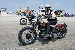 Riding their Harley-Davidson flathead racers, Thelma Domalewicz goes head to head against Karen Howell at TROG (The Race Of Gentlemen). Wildwood, NJ. USA. Saturday June 9, 2018. Photography ©2018 Michael Lichter.