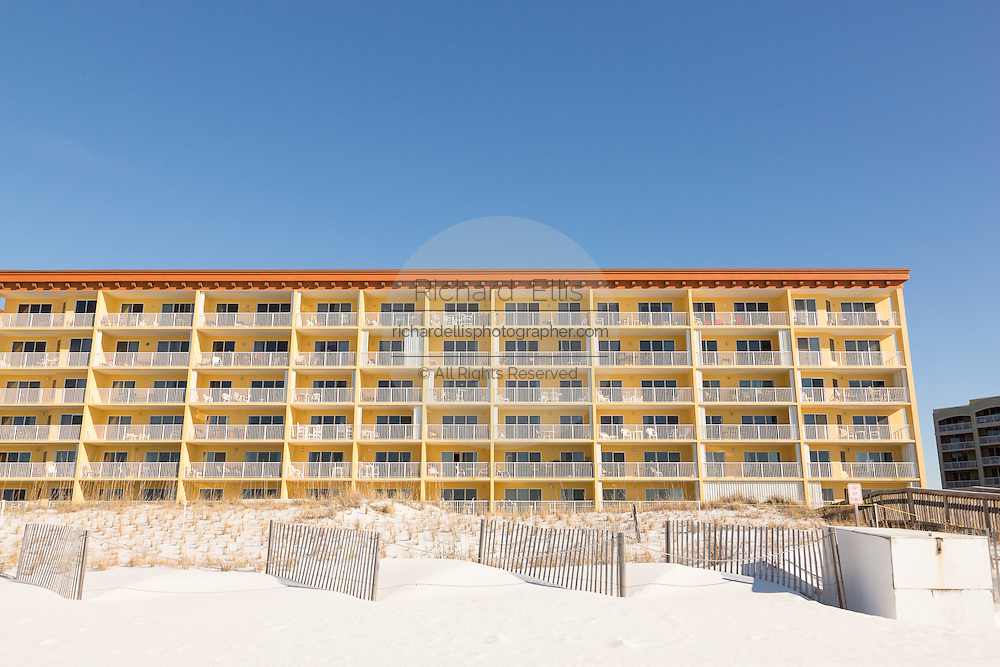 Hotel tower along the beach front in Fort Walton Beach, Florida.