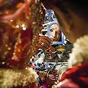 The old Kashmiri Pandits reinforced their racial and social identity by refusing to marry outside their community. At a traditional arranged marriage of a Kashmiri Pundit couple, the boy and girl would see each other first time only during the Lagan (the actual wedding ceremony) and exchange glances through a mirror. This old tradition is kept even today even with more liberal families where the couple had a chance to meet prior to the wedding.