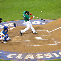 15 March 2009: #32 Rod Barajas of Mexico hits the ball during the 2009 World Baseball Classic Pool 1 game 2 at Petco Park in San Diego, California, USA. Korea wins 8-2 over Mexico.