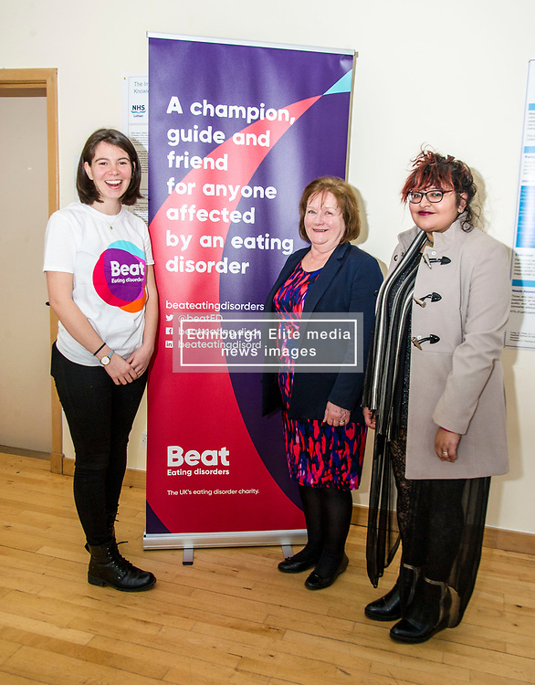 Pictured: Ms Watt met two two Beat ambassadors, Constance Barter and Ballari Conner<br /> <br /> Today Mental Health Minister Maureen Watt vsiisted the Royal Hospital in Edinburgh to help aunch the online resource aimed at young people in this Eating Disorders Awareness Week, While thee she met two two Beat ambassadors, Constance Barter and Ballari Conner<br /> <br /> Ger Harley | EEm 28 Fbruary 2018
