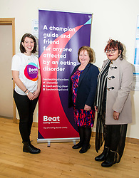 Pictured: Ms Watt met two two Beat ambassadors, Constance Barter and Ballari Conner<br /> <br /> Today Mental Health Minister Maureen Watt vsiisted the Royal Hospital in Edinburgh to help aunch the online resource aimed at young people in this Eating Disorders Awareness Week, While thee she met two two Beat ambassadors, Constance Barter and Ballari Conner<br /> <br /> Ger Harley   EEm 28 Fbruary 2018