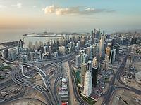 Aerial view of skyscrapers in Dubai, United Arab Emirates.