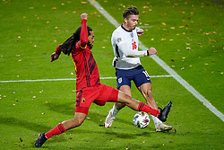 LEUVEN, BELGIUM - Sunday, November 15, 2020: Belgium's Jason Denayer (L) challenges England's Jack Grealish during the UEFA Nations League Group Stage League A Group 2 match between England and Belgium at Den Dreef. (Pic by Jeroen Meuwsen/Orange Pictures via Propaganda)