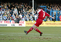 Photo: Chris Ratcliffe.<br />Colchester United v Southend United. Coca Cola League 1. 04/03/2006.<br />Kevin Maher scores Southend's second goal.