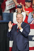 U.S. Senator Lindsey Graham of South Carolina during the Keep America Great Rally at the in the North Charleston Coliseum February 28 2020 in North Charleston, South Carolina.