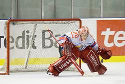 Goalie Jaakko Soumalainen (HK Acroni Jesenice, #1) during ice-hockey match between HD Tilia Olimpija and HK Acroni Jesenice  in 6th Round of EBEL league, on September 26, 2010 at Hala Tivoli, Ljubljana, Slovenia. (Photo By Matic Klansek Velej / Sportida.com)
