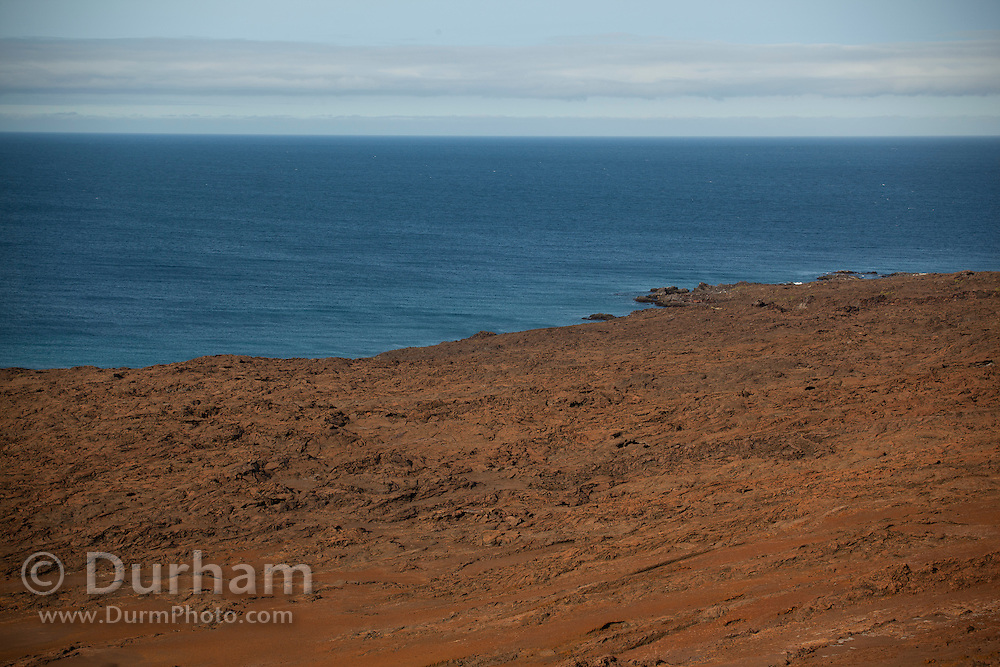 The harsh volcanic landscape of Bartolome island, one of the younger islands in the Galapagos Archipelago, Ecuador.