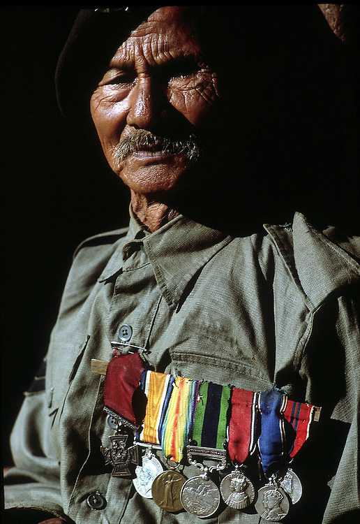 Gurkha,80 year old Karanbahdur Rana, formerly with the British Army and holder of the VC.Photographed in his hilltop village of Liung, Nepal in 1969. Photographed by Terry Fincher