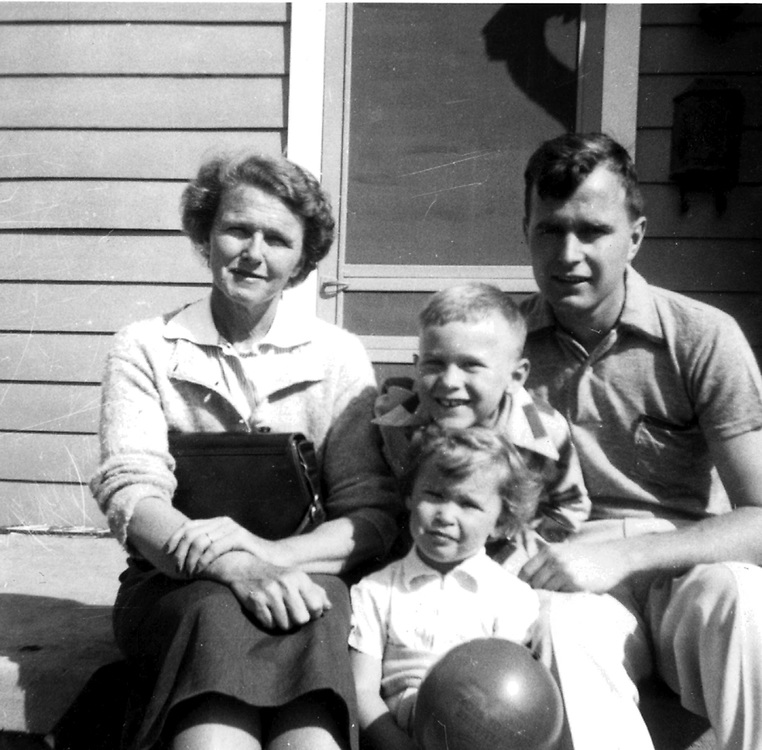 HS314   Dorothy Walker Bush with her son, George H. W. Bush, and grandchildren, George W. and Robin Bush,<br /> April 1953.<br /> Photo Credit:  George Bush Presidential Library