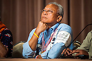 18 MAY 2014 - BANGKOK, THAILAND: SUTHEP THAUGSUBAN at a meeting with  representatives of state enterprises he called at Government House in Bangkok. Suthep called representatives state enterprises to a meeting at his office in Government House, normally the office of the Prime Minister, to make assignments for the coming week. Suthep has pledged to overthrow the government of interim caretaker Prime Minister Niwatthamrong Boonsongphaisan, a member of former Prime Minister Yingluck Shinawatra's inner circle. Niwatthamrong became PM after the courts ousted Yingluck. Suthep has pledged to remove the Shinawatra family from Thai politics by May 27 or he will turn himself into police to face prosecution.      PHOTO BY JACK KURTZ