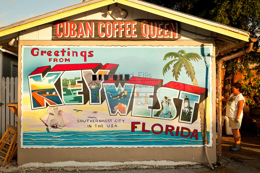 Cuban Coffee Queen and wall mural Key West, Florida.