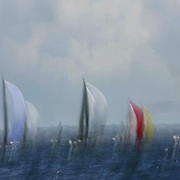 Water Colours...Yachts duel during the Rolex Trophy Series, Sydney in the run-up to the Sydney to Hobart Yacht race. Sydney, Australia.