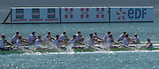 Aiguebelette, FRANCE.  GBR M8+ and FRAN M8+ approaching the the finishing line, repechage, approaching the line. 10:00:10  Saturday  21/06/2014. [Mandatory Credit; Peter Spurrier/Intersport-images]