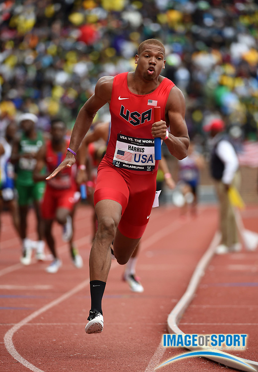 Apr 30, 2016; Philadelphia, PA, USA; James Harris runs the anchor leg on the United States 4 x 400m relay that won the USA vs. The World race in 3:02.32 during the 122nd Penn Relays at Franklin Field.