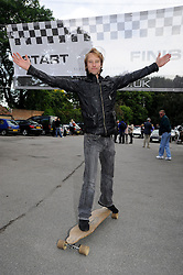 ©  licensed to London News Pictures. 10/06/2011. Cobham, UK. Chesney Hawkes at the start line of  the The Supercar Challenge. Several cars worth more than £2 million in total left from the picturesque Leather Bottle pub, Cobham, for this third annual event which will see contestants take part in a series of challenges on the 1000 mile four day event. See special instructions for details. Picture credit should read Grant Falvey/LNP