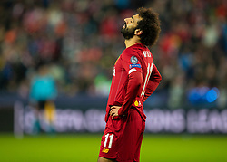 SALZBURG, AUSTRIA - Tuesday, December 10, 2019: Liverpool's Mohamed Salah looks dejected after missing a chance during the final UEFA Champions League Group E match between FC Salzburg and Liverpool FC at the Red Bull Arena. (Pic by David Rawcliffe/Propaganda)