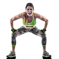 one caucasian woman exercising fitness boxing pilates piloxing exercises in studio isolated on white background