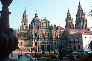 SPAIN, NORTH COAST, GALICIA SANTIAGO DE COMPOSTELA; the Cathedral, built in the 11-13th century; seen across the Plaza la Immaculada