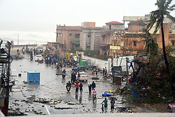 May 3, 2019 - Odisha, India - A view of the main road in Puri district after Cyclone Fani hit the coastal eastern state of Odisha, India. Three people died in India's eastern state of Odisha as the extremely severe cyclone Fani hit the state on Friday morning and continued till beyond noon. A large number of trees and electricity poles were uprooted, and the power supply was cut off in many parts of the state. Many areas in Puri of Odisha and other places were submerged as heavy rain battered the coast. (Credit Image: © Stringer/Xinhua via ZUMA Wire)